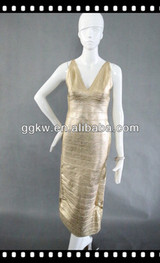GGKW foil print gold sexy long evening dress in promotion for New Year