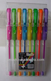 sale fluorescent gel ink pen with 8pcs pp box packing