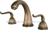Two handle wide spread antique brass faucet