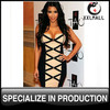 Brand Women Clothing Knee Length Womens Fall Fashion Sexy Checkered Bandage Dress Boutique Clothes