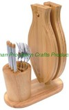 Wooden knife block with cutting board