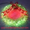 Green Wreath with Red Bow of LED Christmas Light