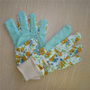 Ladies cotton drill with pvc dots garden gloves