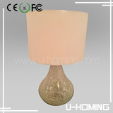 TABLE LAMP SILVER CRACKLE GLASS FAUX SILK SHADE MOSAIC