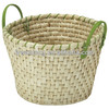Hand woven straw baskets with handles
