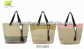 2014 newest geometric pattern jute handbag with tote bag,beach bag)