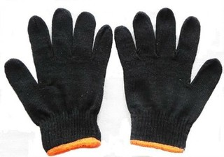 Black Cotton Knitted Gloves,Knitted Gloves,string knit gloves