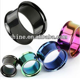 qingdao anodized titanium stainless steel ear tunnel body piercing jewelry