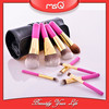 MSQ 9pcs pink makeup brush with high quality PU leather case