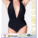 Low deep V-neck Tricot Halter One Piece Chic Swimwear Monokini Swimsuit XS S M L