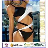 MLD8001 New 2014 Women's Bandage Bikini Set Black White color PUSH UP Halter Woman Bathing Suit bandage swimsuit Swimwear SML