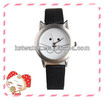Cat lady fashion PU leather strap watch,japan movt quartz stainless steel back