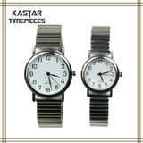 Stainless steel expansion band quartz couple watches