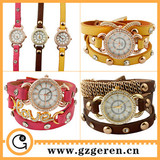 2014 New Products Custom Made Your Own Logo Japan Movt Diamond Metal Case Bracelets Long PU Quartz Lady Wrist Watch