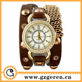 2014 New Products Custom Made In China Luxury Diamond Ring Alloy Case Strap Metal Necklace Bracelet Long PU Quartz watch