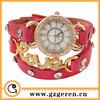 2014Latest Women Wrist Watch Custom Made China Wholesale Luxury Diamond Ring Alloy Case Golden Metal Love Bracelet Long PU Watch