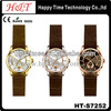 Gold Face Strap Leather Watch Man