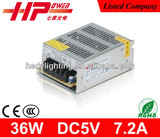 CE RoHS approved constant voltage 36W AC/DC switch mode power supply 5v
