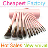 Original Personalized Brushes Cylinder Makeup Brush Case With 12PCS Bronze Makeup Brushes
