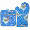 2013 Hot Sale Cheap 100 Cotton Printed Christmas oven mitt and Oven Square