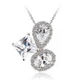 Platinum Plated Three CZ Stone Pendant Necklace