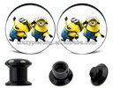 Wholesale Ear Plug Despicable Me Designs Flesh Ear Tunnel Acrylic Ear Piercing Jewelry