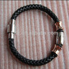 Gold plated Stainless steel beads leather cord bracelet