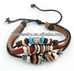 2013 Fashionable genuine leather friendship with alloy charm bracelet