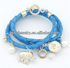 2013 fashion stylish braided leather charm bracelet cheap