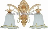 Double vintage wall lamp with glass lamps shade