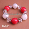 Red & White Beads Bracelets-Faceted Crystal-Silver Buttons Bracelets