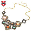 Color square glass casting necklace fashion jewelry baroque style hot fashion necklace