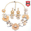 2014 Fashion jewelry sets pearl crystal shell sets necklace and earring sun flower rose daisy design
