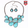 2014 Fashion jewelry sets turquoise necklace and earring drop shape