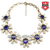 Color square resin glass flower necklace fashion jewelry baroque style hot fashion necklace amethyst topaz color
