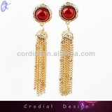 Fashion Jewelry High Quality Jewelry Gold Tassels Design Ruby Ear Stud For Bridal Custom Jewelry