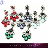2014 Trendy Design Fashion Jewelry High Quality Jewelry Color Crystal Ear Stud For Bridal Custom Jewelry