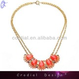 2014 Fashion Jewelry Trendy Design Statement Jewelry Coral Crystal Pendant Necklace Double Gold Chian Coral Necklace