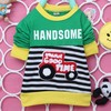 The new spring 2014 men 's clothes for children baby striped long-sleeved round neck casual t-shirt A005