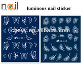 Promotion 2014 DIY Water and luminous Nail Sticker Nail art noctilucent/ luminous Decal Luminous stickers with 22 designs