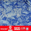 Blue flower printed lycra fabric for women's dress