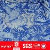 Blue flower printed lycra fabric for women's dress