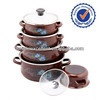 662EDGB glass lid 5pcs china enamel cookware in pans