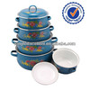 Ceramic cookware coloured 5pcs baked enamel cookware set