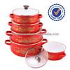 china insulating 5pcs glass lid kitchenware enamel casserole cookware pot sets