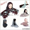 Fashion lady knitted and lace cotton muslim hijab scarf