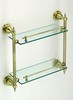 Bronze Colored, Double Glass Shelf, Bathroom Glass Shelf