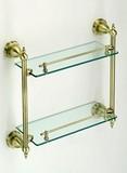 Bronze Colored, Double Glass Shelf, Bathroom Glass Shelf