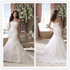Elegant Wedding Dress Trumpet/Mermaid Strapless Court Train Appliques Beading Pearls Tulle Wedding Dress 2014