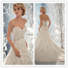 Gorgeous Wedding Gown a-Line Sweetheart Appliques Shiny Crystals Beading Tulle Wedding Dress 2014